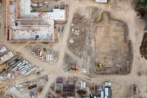 A drone photo of a construction site